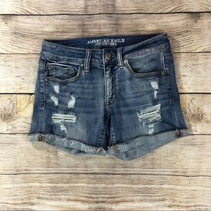 American Eagle Super Super Stetch Midi Jean Shorts